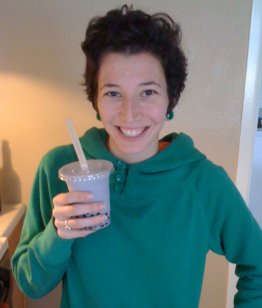 Holding homemade Taro bubble tea!