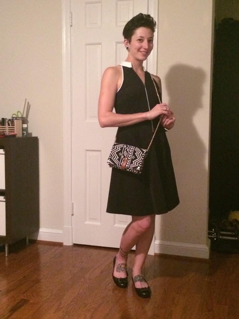 Marche Zipper Front Dress (w/Clutch)