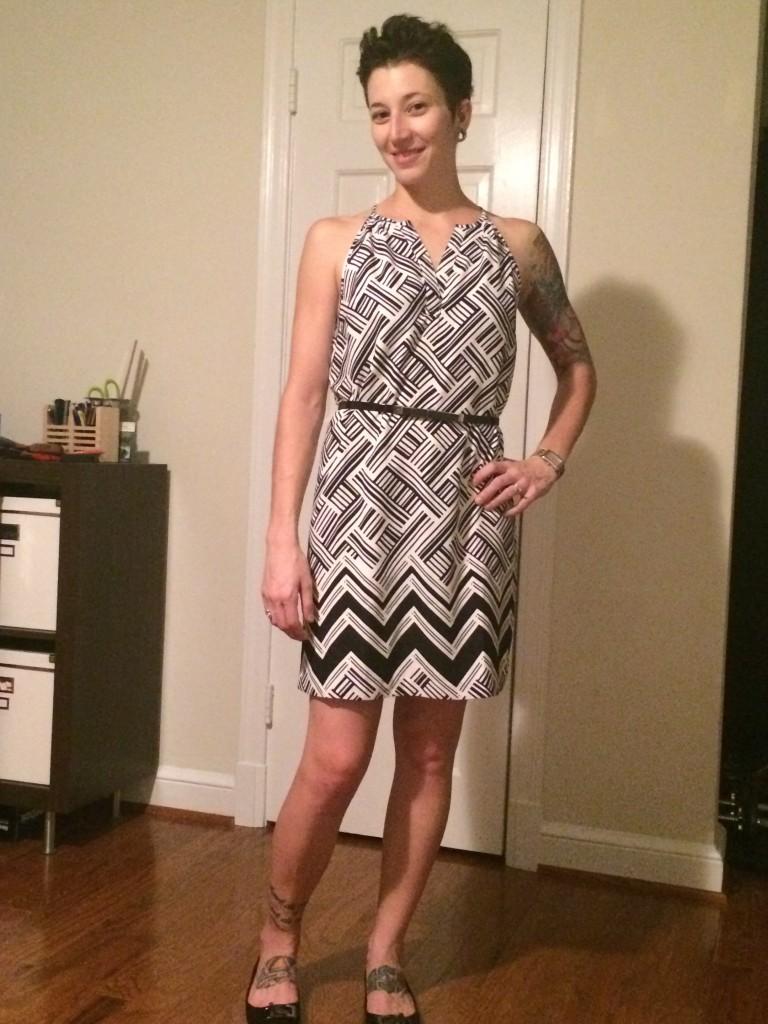 Sutton Mixed Chevron Print Dress (Belted)