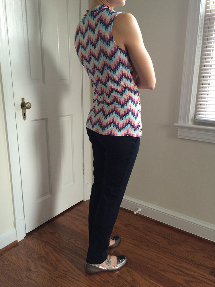 Pixley Montgomery Chevron Print Cross Front Knit Top (back)