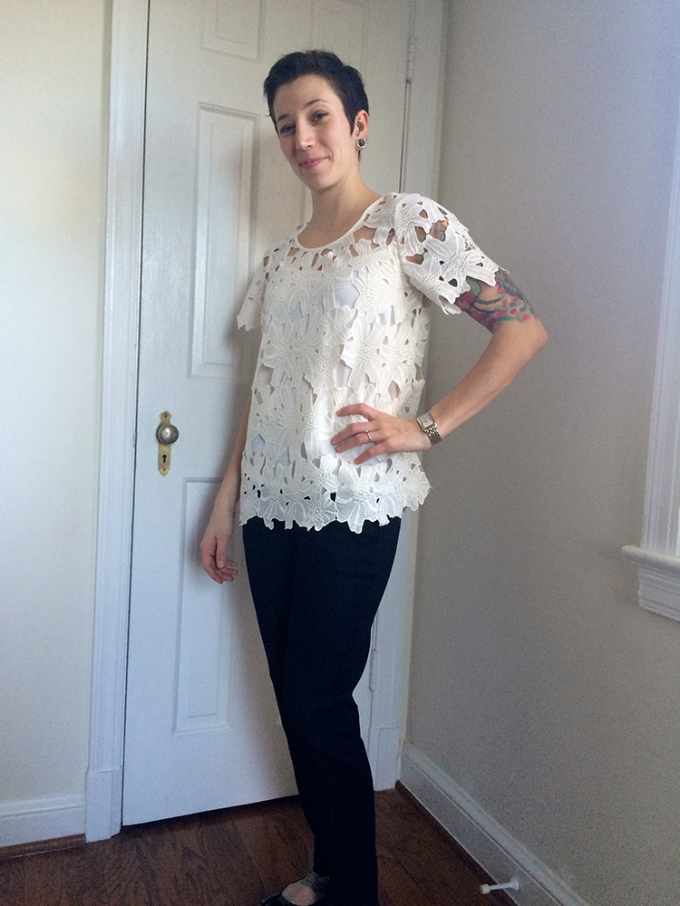 Azurre Lace Overlay Blouse